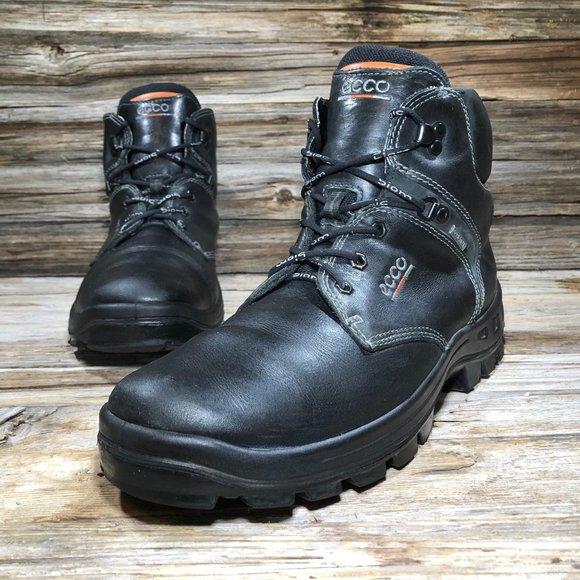 Ecco Track Black Leather Gore-Tex Hiking Boots Men